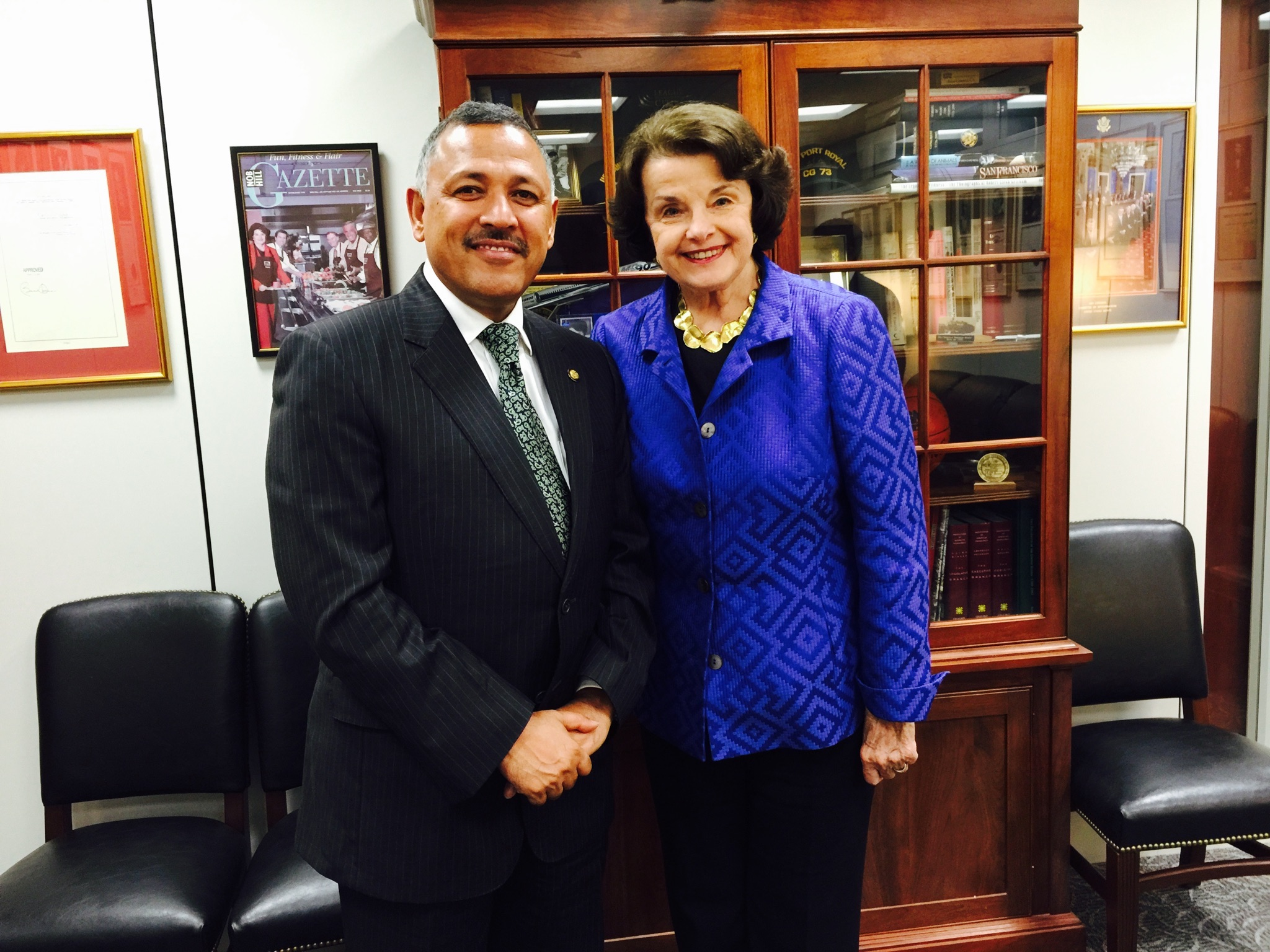 H E Ambador Dr Arjun Ar Karki Shakes Hands With The United States Senator Dianne Feinstein After A Meeting On Nepal Trade Preferences Act Between